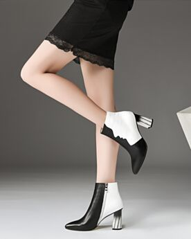 Pointed Toe Fur Lined White Booties Winter Leather 8 cm High Heel Block Heels