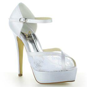 Brautschuhe Peeptoes Plateau Elegante Knöchelriemen Satin Weiß Mit 13 cm High Heel Sandaletten Spitzen