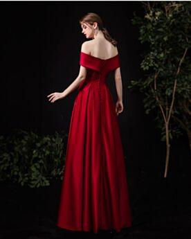 Robe Mère De Mariée Robe Demoiselle D honneur Dos Nu Longue Bordeaux Simple Satin Epaule Dénudée Élégant Princesse