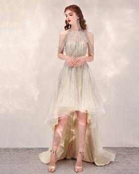 Luxus Abiballkleid Vokuhila Sommer Konfirmationskleid Asymmetrisches Cocktailkleid Partykleider Pailletten Kurze Glitzernden Schulterfreies