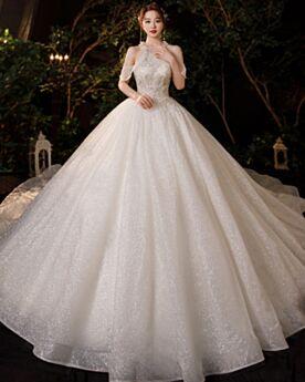 Luxury Halter Sparkly Glitter Sleeveless Ivory Beautiful Wedding Dress Backless Ball Gowns