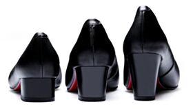 Mit Roter Sohle Schlichte Klassisch Schwarz Spitz Zeh Blockabsatz Mit Absatz Business Schuhe Pumps Kitten Heel