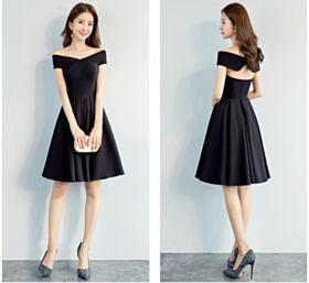 Short Backless Little Black Dresses Semi Formal Dresses Black Fit And Flare Simple