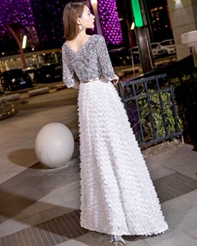 Sequin Empire White Prom Dress Graduation Dresses Chiffon Boho
