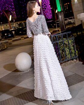 Sequin Empire White Prom Dress Graduation Dresses Chiffon Boho