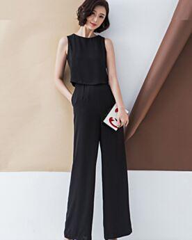 Chiffon Casual Wear Backless Going Out Sleeveless Black Straight Jumpsuits Peplum