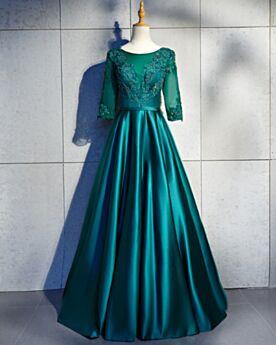 De saten Vestidos De Fiesta Para Prom Elegantes De Encaje Espalda Abierta Largos Vestidos De Noche Con Media Manga Verde Esmeralda