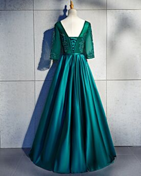 Long Appliques Lace Backless Occasion Gowns Prom Dress Elegant Emerald Green Formal Dresses Princess