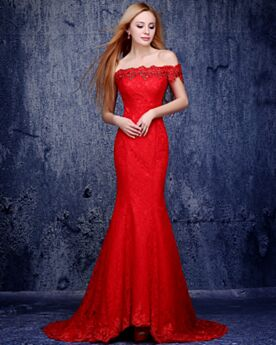 Evening Dresses With Pearls Lace Red Mermaid Cold Shoulder 2019 Occasion Gowns Mother Of Bridal Dresses Elegant Backless Off The Shoulder