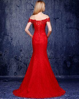 Lange Elegante Open Rug Avondjurken Rode Kanten Met Staart Mouwloze Off Shoulder Bruidsmoederjurken