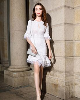 Fringe Cute Cocktail Party Dress Sequin Graduation Dresses White Half Sleeve Fit And Flare Short Sparkly