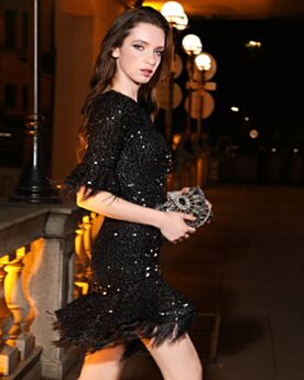 Graduation Dresses Short Bell Sleeved Cocktail Dress Sequin Fit And Flare Sparkly Half Sleeve Black Cute Tassel