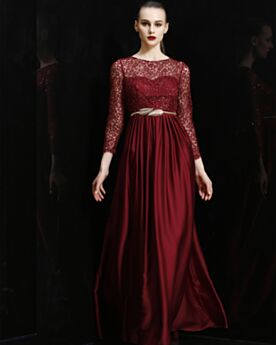 Charming Lace Long Sleeved Bridesmaid Dress Satin Formal Dresses Burgundy Long 2019 Sparkly