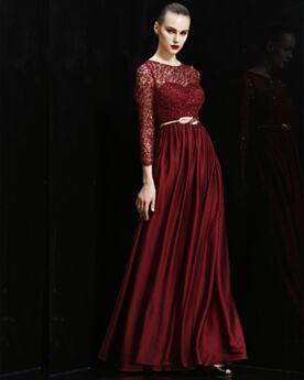 Empire Rundhalsausschnitt Abendkleid Brautjungfernkleider Spitzen Lange Lange Ärmel Glitzernden Brautmutterkleider
