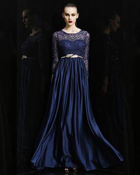 Elegantes Azul Marino Vestidos De Noche Para Fiesta Vestidos Para Damas De Honor Largos Vestidos Para La Mamá De La Novia Imperio De Encaje Brillantes