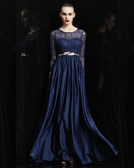 Empire Spitzen Elegante Lange Ärmel Marineblau Brautmutterkleid Brautjungfernkleider Abendkleider Glitzernden