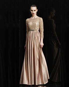 Ronde Hals Lange Satijnen Avondjurken Bruidsmeisjes Jurken Elegante Kanten Lange Mouw Gouden Sparkle Empire Bruidsmoederjurken