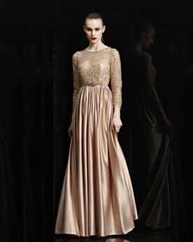 Sparkly Gold Formal Dresses 2019 Scoop Neck Lace Charming Long Long Sleeve Bridesmaid Dress