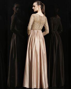 Brillante Élégant Manche Longue Satin Dorée Robe Mère De Mariée Dentelle Robe De Soirée Longue Robe De Demoiselle D honneur Ajourée