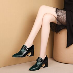 Office Shoes 2019 6 cm Heel Block Heel Fashion Chunky Heel Round Toe Leather Color Block Green Pumps