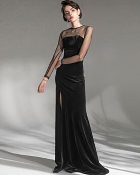 Black Velvet Long Long Sleeves Party Dress For Wedding Split Formal Dresses Sheath Vintage Simple