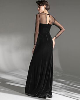 Black Velvet Long Long Sleeves Party Dress For Wedding Split Formal Dresses Sheath Vintage Simple