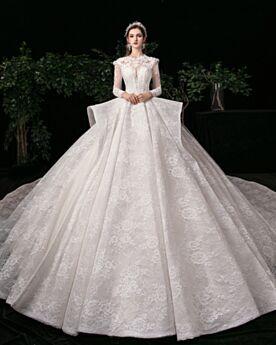 Elegante Kirche Applikationen Weiß Herrlich Spitzen Prinzessin Lange Ärmel Brautkleider