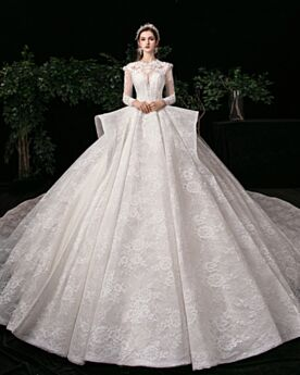 Open Back Appliques Gorgeous Ball Gown Lace White Long Sleeve Charming Ruffle Wedding Dress