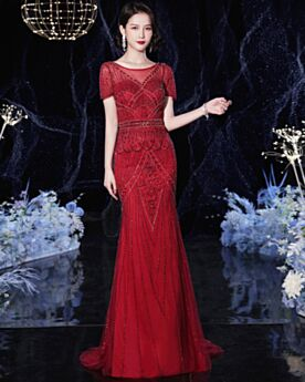 2020 Elegant Sequin Celebrity Dresses Burgundy Evening Dress With Train Short Sleeve Sparkly Long
