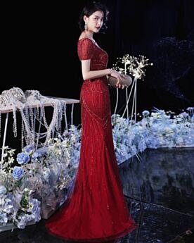 Abendkleider Für Festliche Lange Burgunderrot Meerjungfrau Glitzernden Mit Schleppe Pailletten Abiballkleider Kurzarm Roter Teppich Kleider Elegante Rundhalsausschnitt