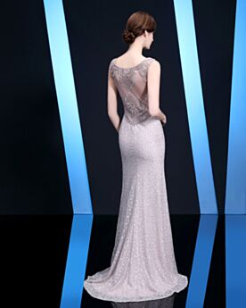 Sleeveless Long Formal Evening Dresses Lace Silver Glitter Sequin Luxury With Train Sheath Sparkly With Crystal Elegant