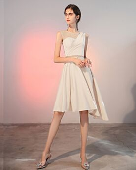 Courte Dos Nu Blanche Belle Une Épaule Mousseline Robe De Cocktail 2020 Simple Sans Manches