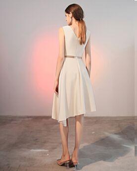 Schöne Chiffon Kurze Abschlusskleid One Shoulder Cocktailkleider Schlichte Weiß