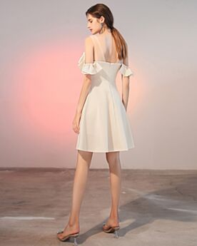 Short Skater Open Back Chiffon White Graduation Dresses Ruffle Cute Simple For Juniors Cocktail Dress