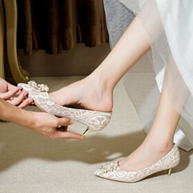 1 inch Low Heel Champagne Pumps Dress Shoes Lace Stiletto