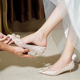 Zapatos Novia Con Encaje En Punta Fina Zapatos Con Tacon Stilettos Elegantes Tacones Bajos Color Champagne