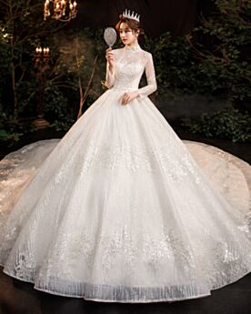 Beaded Beautiful Wedding Dress Long Sequin With Train High Neck Gorgeous