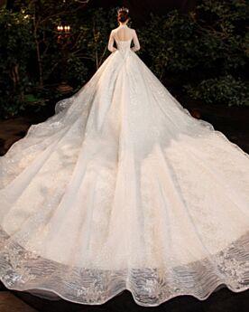 Manche Longue Dos Nu Luxe Brillante Ivoire Paillette Belle Robe De Mariée Avec La Queue Col Haut Perlage