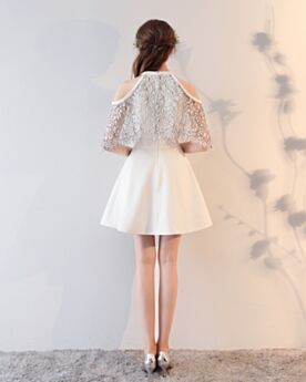 Fit And Flare Cute Out Cocktail Dress Short Summer Lace Cute White Simple