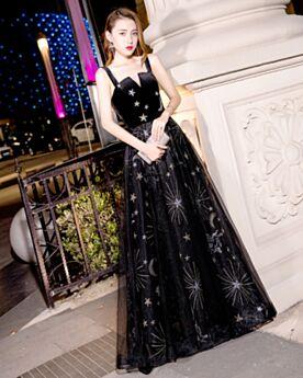 Vestidos De Fiesta Para Prom Negro Largos De Tul Sin Manga Acampanados Bonitos Vestidos De Nochevieja