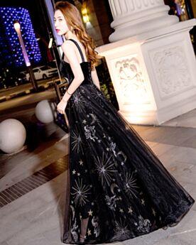 Ballkleid Lange Silvester Kleid Satin Schwarze Rückenausschnitt Schöne Tiefer Ausschnitt