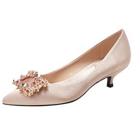 Zapatos Para Novia Elegantes Zapatos Color Champagne De Satin Tacones Bajos 3 cm Con Strass De Punta Fina