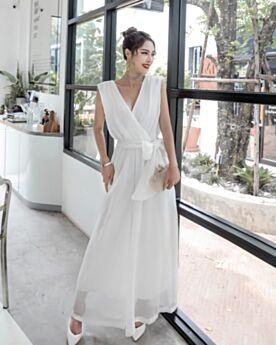Polyester Portefeuille Robe Bohème Casual Décolleté Dos Nu D ete Combinaison Pantalon Large Sans Manches Blanche