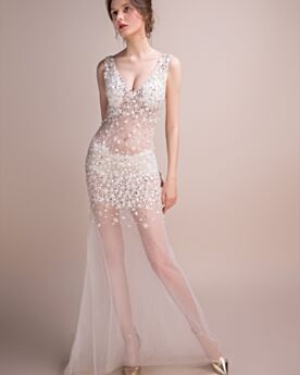 Sheath Tulle Sexy Long Backless Cocktail Dress Plunge Club Dress White Crystal