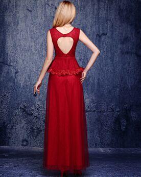 Schößchen Abendkleid Lange Brautjungfernkleid Empire Ärmellos Abiballkleid Spitzen Hochzeitsgäste Kleider Elegante