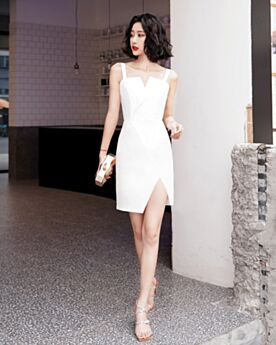 Cocktail Dress Short White Open Back Semi Formal Dress Satin Sleeveless Sheath Simple Graduation Dress Slit