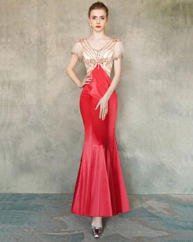 Elegant Open Back Red Transparent Evening Dresses Mermaid Homecoming Dress Long Satin