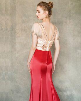 Perlen Rot Elegante Abendkleid Rückenfreies Meerjungfrau Abiballkleid