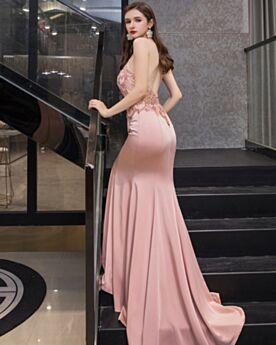 Largos Con Cola Bonitos Elegantes Vestidos De Noche De Cristal Cuello Halter Color Rosa Palo Sirena Espalda Descubierta