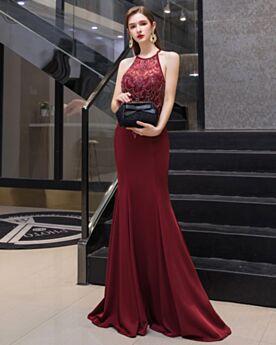Sirène Sans Manches Cristal Robe Soirée Bordeaux Licou Chic Élégant Longue